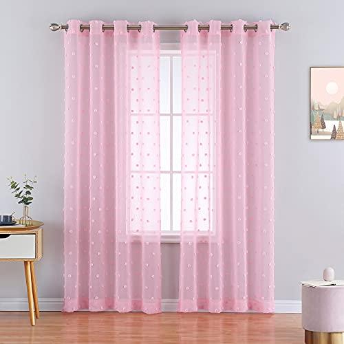 CAROMIO Halb Transparent Sheer Pom Vorhang ,Voile Ösenshchal Gardine für Wohnzimmer Fensterschal Scheibengardine,2er Set,132*228cm, Rosa