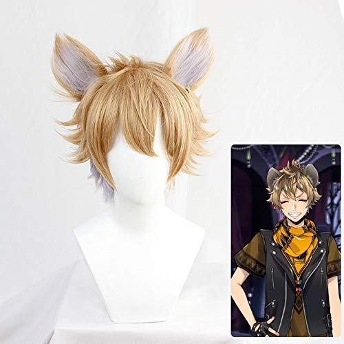 Pelucas de Ruggie Bucchi Twisted-Wonderland, disfraz de Cosplay, corto marrn, el Rey Len, hienas, pelo de cosplay con orejas + redecilla para el pelo