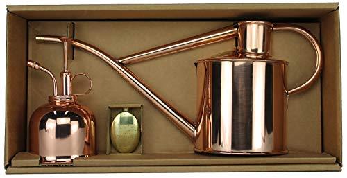 Haws Zimmergießkanne Kupfer 1 L und Pflanzensprüher Kupfer 300 ml im Geschenk Set