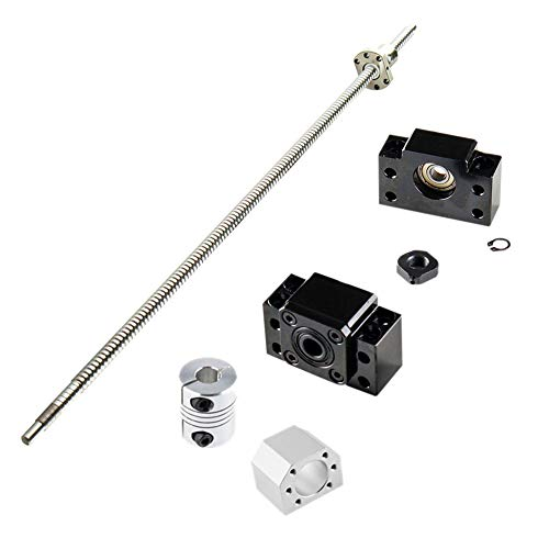 Kit de vis à bille SFU1605 650 mm + kit BK/BF12 + vis à bille anti-contrecoup 1605 avec écrous sphériques + boîtier de vis pour machine CNC, longueur d'environ 25,6/650 mm