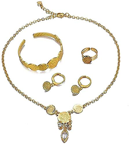 ZGYFJCH Co.,ltd Necklace Woman Necklace Ethiopian Arabic Necklace Coin Jewelryse Gold Color Fashion Kids Baby Jewelry Sets Necklace/Earrings/Ring/Bracelet Kids Gift for Women Gift for Men