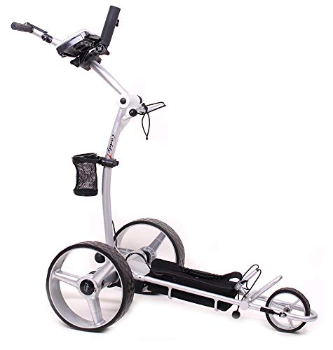 Caddy1 Elektro Golf Trolley 700 in Silber mit 2 x 250 W Motor Lithium Akku