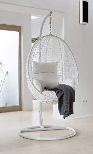 Kideo® Komplettset: Hängesessel mit Gestell und Sitzkissen, Loungemöbel, komplett weiß (Kissenfarbe: weiß)