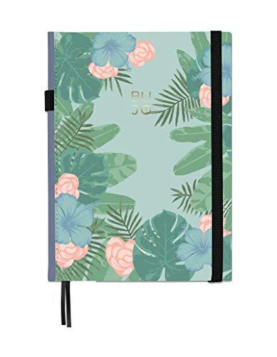 Libreta Bullet Journal Tropical/Libreta Punteada - 19x25 cm- Encuadernación Suisse- Tapa Dura en Tela- 188 Páginas en Papel Premium (verde)