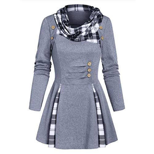 KPILP Damen Sweatshirt Langarm Pullover Kleid Kariert Longpullover Oberteile Herbst Winter Tops Strickwaren Mantel Langarm-Kleid Partykleider