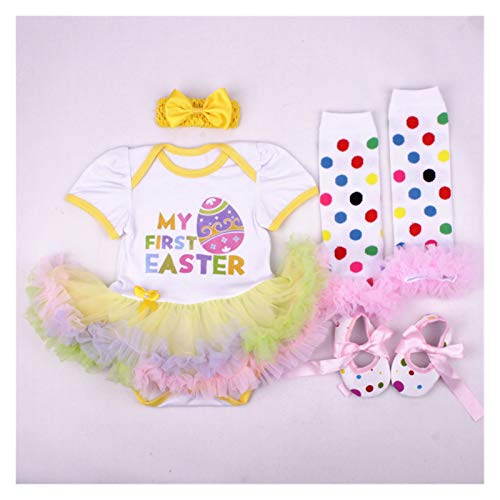 First Easter Day NewBorn Baby Girl Costume Romper Baby Clothes Egg Dress Sets 4PCS Bebe Clothing Kids Infant Dress For Girls (Color : Light Blue, Kid Size : 24M)