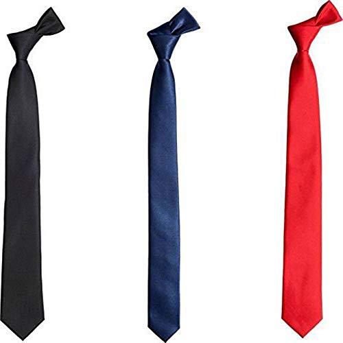 Alcove Men's Boys Skinny Tie/Slim Tie Combo Pack of 3 (Black,Navy Blue,Red)