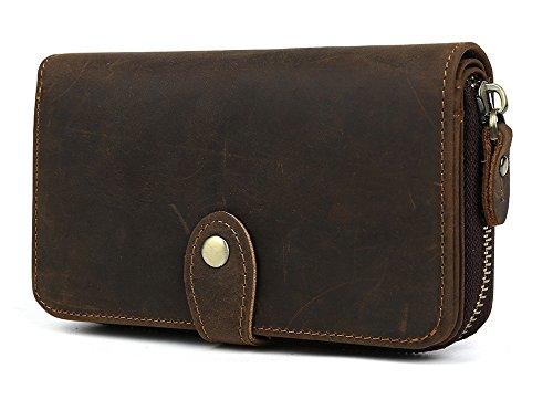 [潮牛(チョウギュウ)]牛革 二つ折り財布 メンズ 大容量 ラウンドファスナー 小銭入れあり アンティーク ダークブラウン