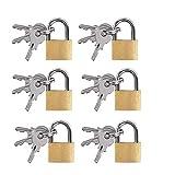 SoundZero 6 Piezas Candados combinados para exteriores, mini candados con llaves candado de latón para equipaje, Candado Pequeño Pequeño Candado con 3 Llaves para Mochilas, Equipaje, Archivadores