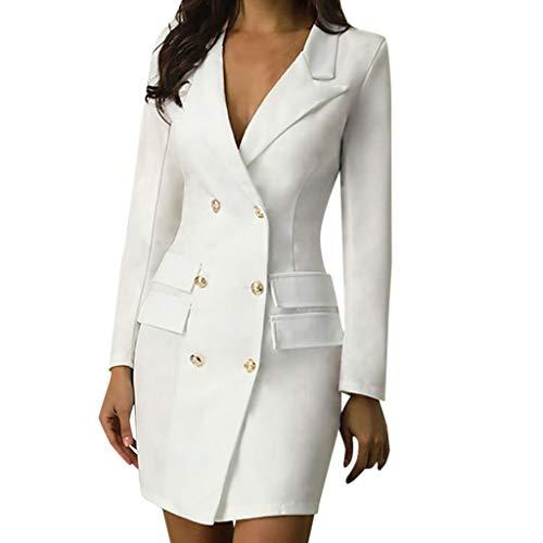 LUNULE Vestido Largo para Mujer Estilo Militar Double-Breasted Button Vestido Mujer Blazer...