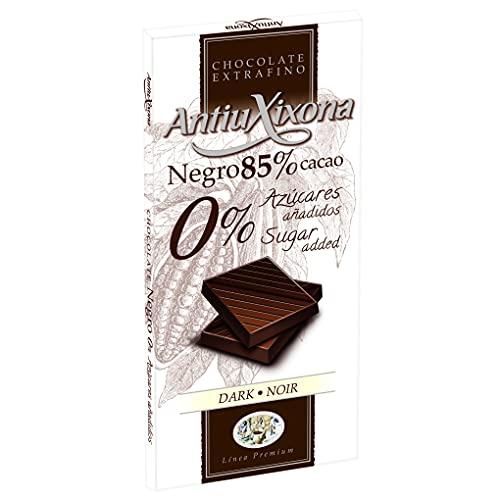 Antiu Xixona Premium - 85% Cacao 0% Azúcares Añadidos, Chocolate Negro, 100 Gramos