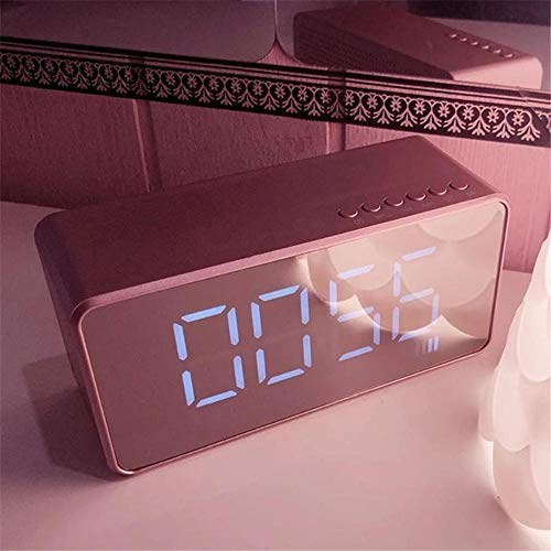 ist Präfekt für Streaming / Podcasting / Gaming Bluetooth-WLAN-Lautsprecher 3,5mm AUX. Jack-Spiegel LED Digitaler Bildschirm FM Radio-Lautsprecher-Wecker-Spieler ( Color : Pink )