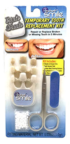 Instant Smile Triple Shade Temporary Tooth Kit - Replace A Missing Tooth in Just 5 Minutes!