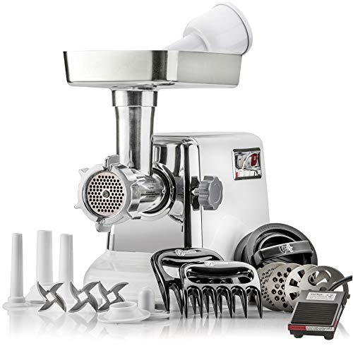 STX Turboforce 3000 Heavy Duty 5-In-1 Powerful Size #12 Electric Meat Grinder with Foot Pedal • Sausage Stuffer • Kubbe Maker • Burger/Slider Maker • 2 Meat Claws • 3 S/S Blades • 4 Grinding Plates