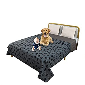 TTLUCKY Resuable Paw Printed Waterproof Pet Blanket Reversible Dog Bed Cover,Soft Furniture Protector Cover for Kids Pet Puppy (102X82 in,Grey)