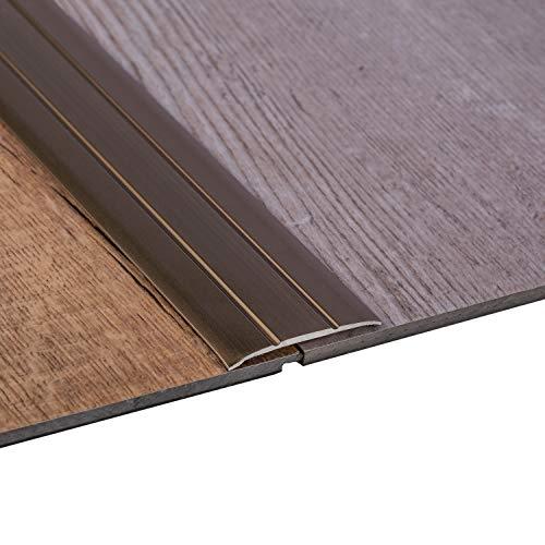 Gedotec Aluminium Übergangsprofil selbstklebend Übergangsschiene Alu flach | Boden-Leiste mit Breite 37 mm | Ausgleichsprofil Bronze eloxiert | Abdeckleiste 100 cm | 1 Stück - Bodenprofil Schiene