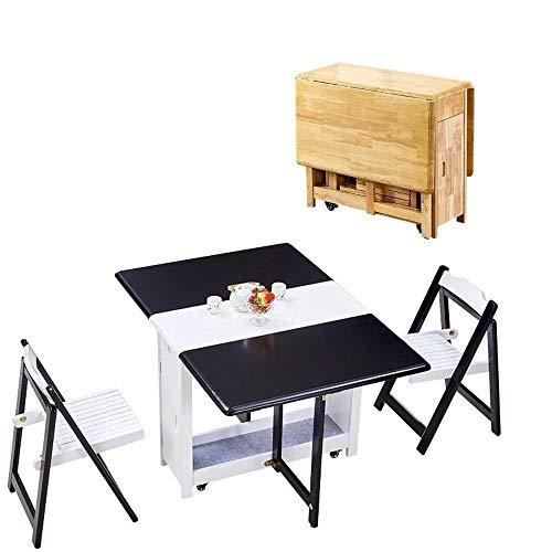 N/Z Daily Equipment 1.45M Folding 2 Chairs Dining Table Set Drop Leaf Butterfly Solid Wooden Kitchen Furniture Natural Pine Folding Table