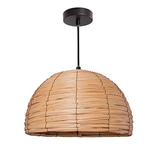 Paco Home Deckenlampe LED Pendelleuchte Wohnzimmer Und Schlafzimmer, Holz, Deko E27, Lampenschirm:Natur (Ø36 cm), Lampentyp:Pendelleuchte Schwarz