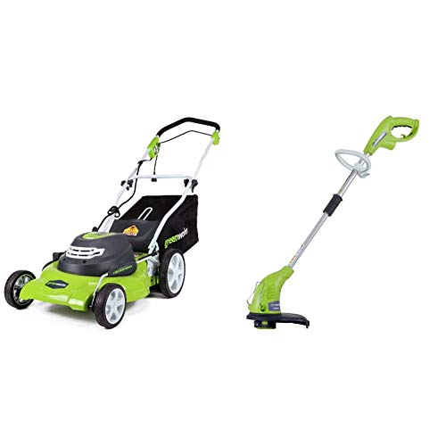 Greenworks 20-Inch 3-in-1 12 Amp Electric Corded Lawn Mower 25022 & 13-Inch 4 Amp Electric Corded String Trimmer 21212