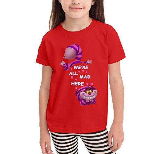Alice-In-Wonderland-Cheshire-Cat Camisetas gráficas para niñas Adolescentes, niños y niñas, Camiseta de Manga Corta, Camisetas de algodón, Camisetas para niños, Tops 2-6t
