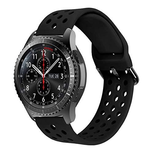 MroTech 22MM Armband kompatibel für Samsung Gear S3 Frontier/Classic/Galaxy Watch 46mm Silikonarmband Sport Uhrenarmband Ersatz für Huawei Watch 2 Classic/GT/GT2 46MM 22 MM Ersatzband Silikon Black