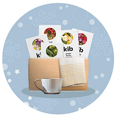 Kib Gift Box (Pack of 5 Flavoured Herbal teas Total 75 Tea Bags, Nkuku Tea Cup and Sabahar Tea Towel)