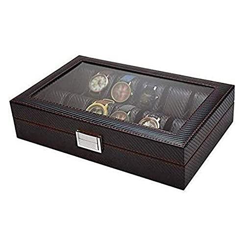 WHZG Caja joyero Color negro elegante, parte superior de vidrio, fibra de carbono, caja de presentación de cuero sintética y organizador para hombres |Titular de reloj de joyería de primera clase Orga