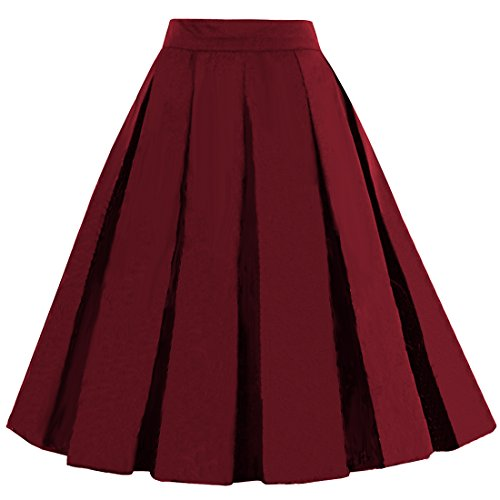 DresseverBrand Damen Rockabilly Rock A Linie Retro Rock Midi Swing R?cke Burgundy Medium
