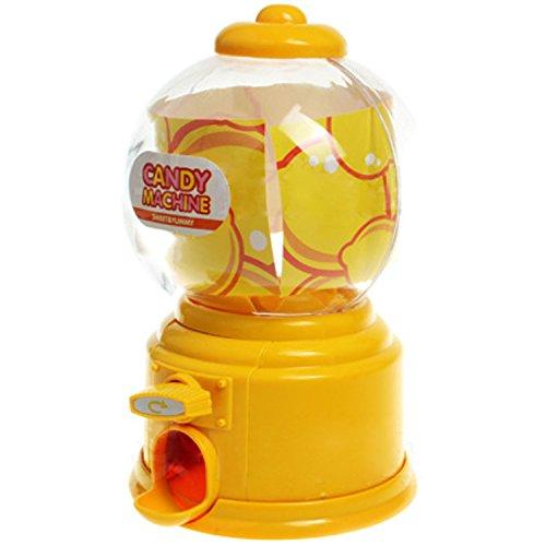 Gosear Mini Máquina Expendedora de Habas de Jalea Chicles Gomitas Azúcar Caramelo de Gumball/Dispensador de Snack para Novedad Fiesta Cumpleaños Regalo Juguetes para Niños,Amarillo