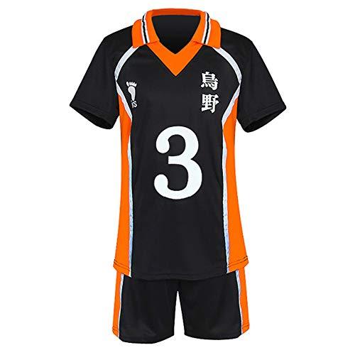 Haikyuu Cosplay Disfraz de equipo de voleibol de escuela secundaria camiseta y pantalones cortos para Karasuno Sportwear Jersey