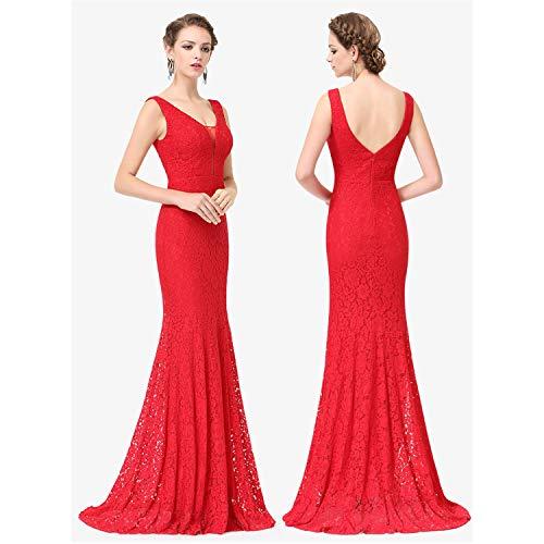 WML-Hochzeitskleid Plus Size Ever Pretty Korsett Lace Mermaid Brautkleider Einfache Elegante Brautkleider for die Braut Kleid (Color : Red, US Size : 18W)