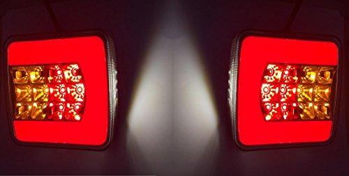 Lot de 2 feux arrière néon à LED pour camion, remorque, caravane, camping-car, bus
