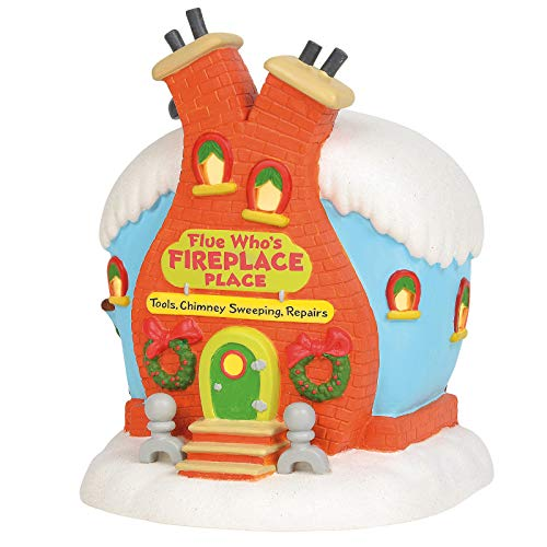 Department 56 Dr. Seuss The Grinch Village Flue Who's Fireplace Place Lit Building, 8.5 Inch, Multicolor