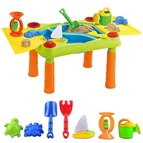 deAO Tavolo da Gioco con Acqua e Sabbia attività per Bambini all Aperto Tavolo con Due Compartimento e Copertura Doppia Include 12 Accessori