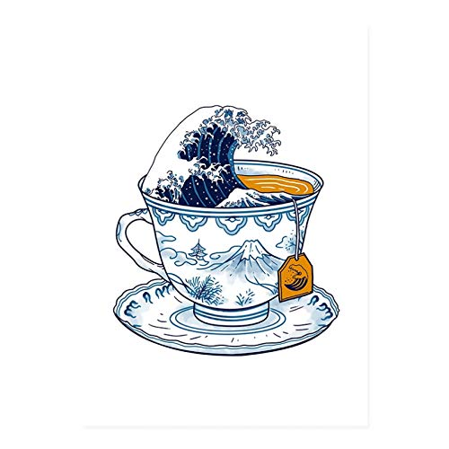 N/A Cuadro De Lienzo Póster De Estilo Japonés, Taza De Té Azul del Mar, Pinturas En Lienzo, Impresiones, Imagen Artística De Pared, Cocina para Sala De Estar, Decoración del Hogar, Sin Marco