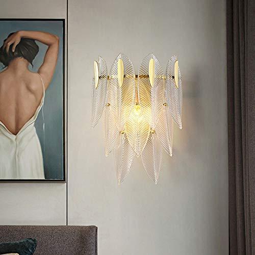 Yang1mn Las hojas de oro Post Modern cobre lámpara de pared lámpara de cabecera del dormitorio de la sala de TV de fondo lámpara de pared de 30 * 42 (cm) Simple Pared Glass
