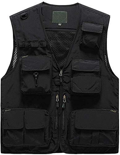 Pishon Men's Summer Outdoor Work Safari Fishing Vest Quick Dry Casual Lightweight Travel Photo Cargo Vest with Multi Pockets, Black, X-Large