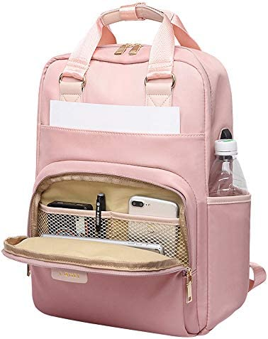 Laptop Backpack 15 6 Inch Water Resistant with USB Charging Port Pink product image