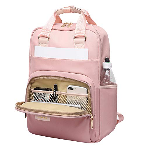 Laptop Backpack 15.6 Inch Water Resistant, with USB Charging Port -Pink