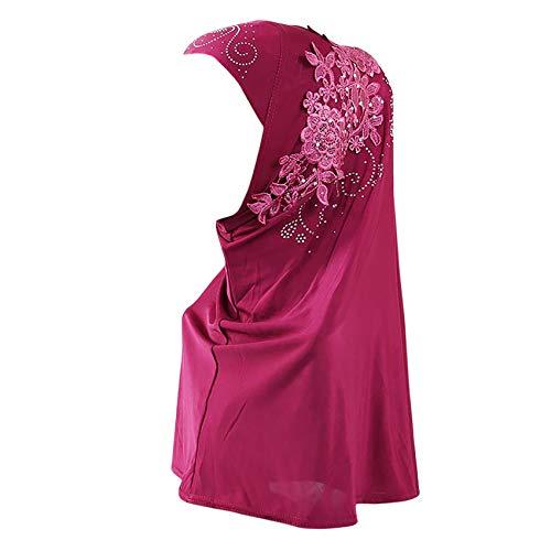 Women One Piece Muslim Hijab Lace Applique Head Wrap Scarf Shawl with Rhinestones - red - One Size