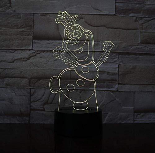 3D Nachtlicht Schneemann Olaf Nachtlicht für Kinder Schlafzimmer Dekor Batteriebetriebene Atmosphäre Hübsches Baby Led Nachtlampe