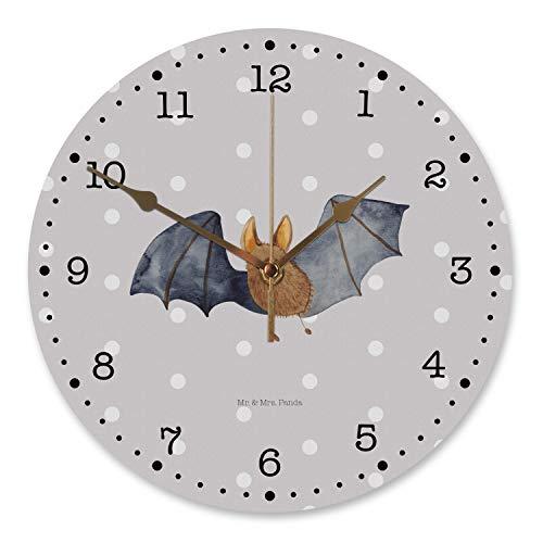 Mr. & Mrs. Panda Küchenuhr, Uhr, 30 cm Wanduhr Fledermaus fliegend - Farbe Grau Pastell