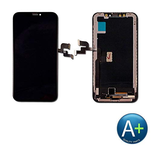 PassionTR for iPhone X 10 5.8 Inch Soft Flexible AMOLED OLED Screen Replacement (Not LCD) Digitizer Full Assembly Display Frame Set (for IP X Black)