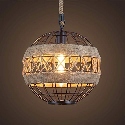 AXWT Retro Industrial araña cáñamo Cuerda Metal Luces Colgantes Altura Ajustable e27 lámpara Soporte esférico diseño Colgante Luces Cocina Cocina Chandelier,