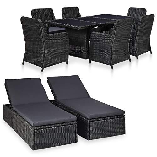 pedkit Conjuntos Sofa Exterior Juego de Comedor de jardín 9 Piezas ratán sintético Negro