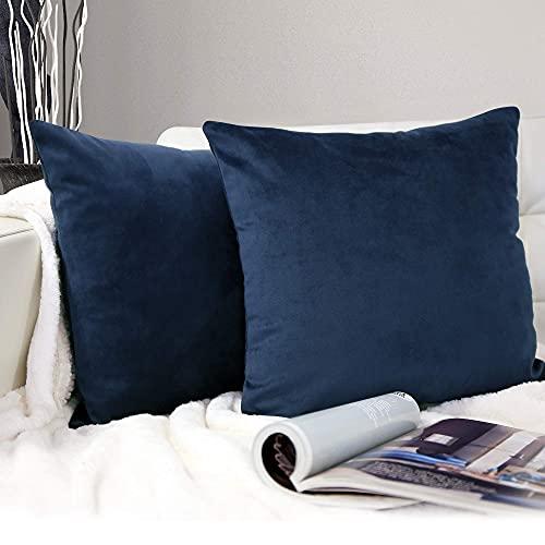 BARBONS Juego de 2 fundas de almohada de 40 x 40 / 50 x 50 / 45 x 45 / 30 x 50 cm - Funda para cojín / cojín lumbar - Funda de cojín de 40 x 40 / 45 x 45 / 50 x 50 cm (40 x 40 cm) azul marino).