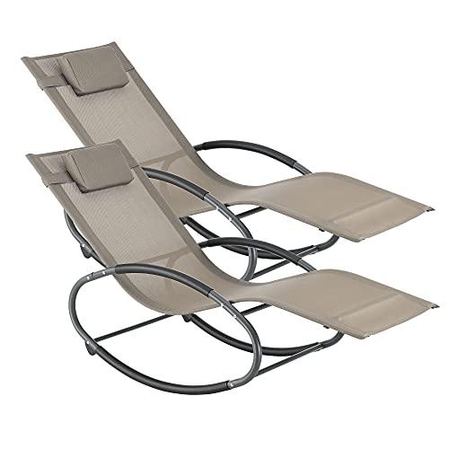 sedia sdraio gambe [en.casa] Set di 2 Sdraio a Dondolo da Giardino/Balcone