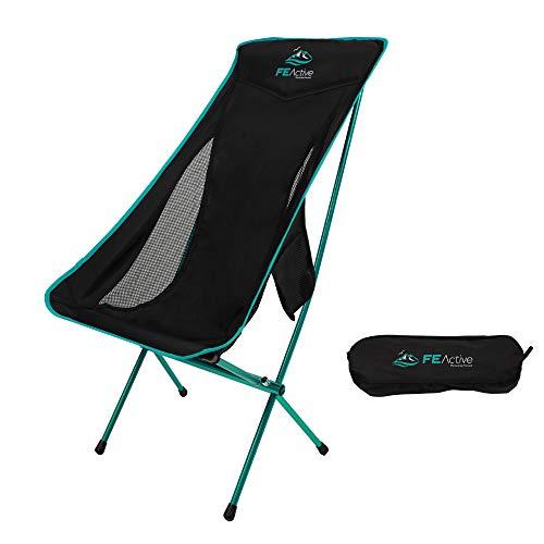 FE Active Sedia da Campeggio Pieghevole - Sedia Compatta da Esterno, Leggera e Portatile. Sedia da Campeggio per Adulti e Bambini. Ideale per Viaggiare, Pesca, Spiaggia | Disegnata in California