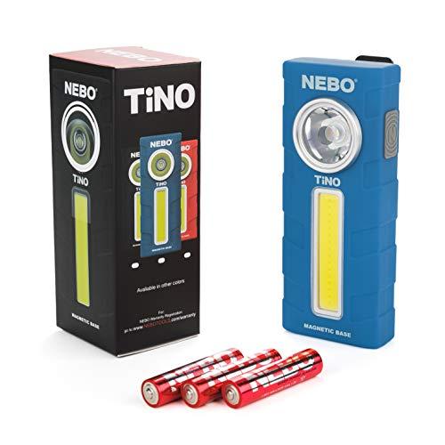 300-Lumen LED Work Light Flashlight: Durable Pocket Sized Magnetic Flashlight Featuring 2 Light Modes, A Pocket Clip, Hanging Hook and Magnetic Base - NEBO TINO 6809 – Blue