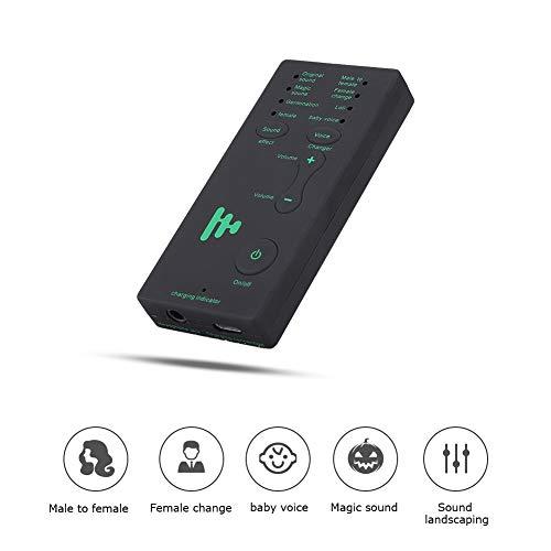 Lazmin Externe Soundkarte Voice Changer, 400mAh/3,7V Handy Handheld Mikrofon Voice Changer USB Soundeffekt Maschine
